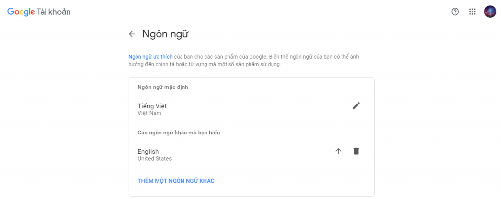 Google Language Settings Default Language