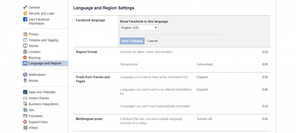 Facebook's Language Settings