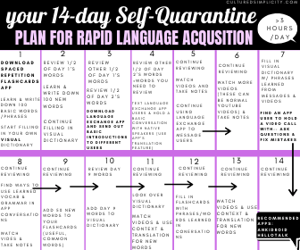 14 day self quarantine plan for language acquisition