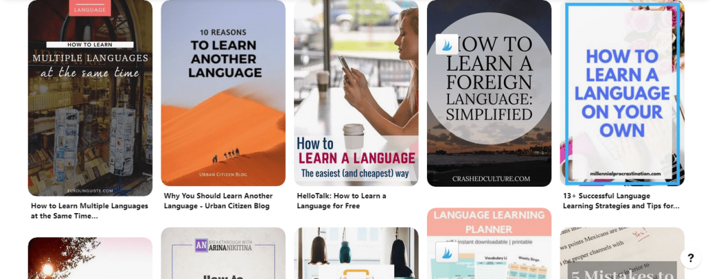 Language Learning Pinterest Board for Inspiration