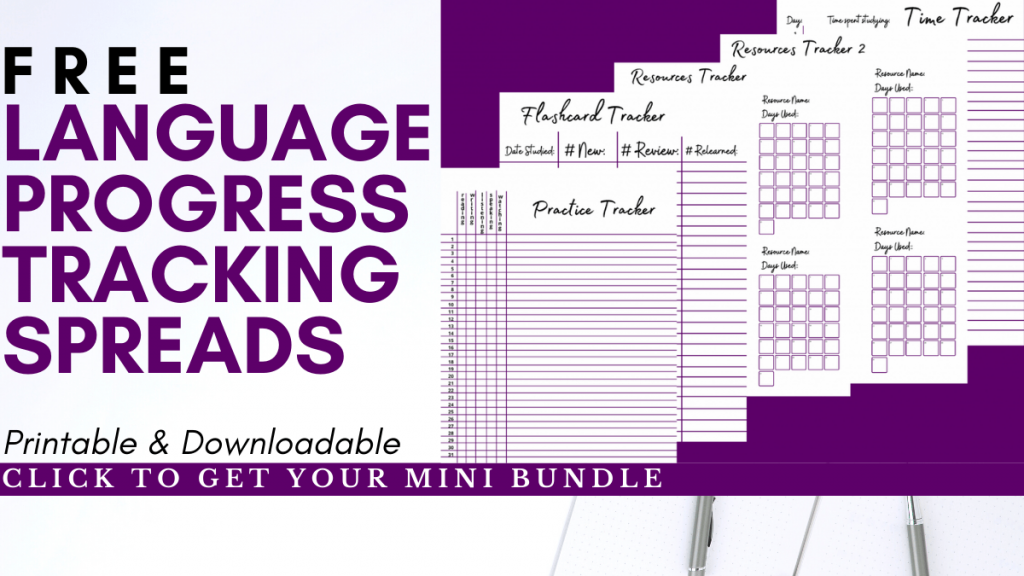 Free language progress tracking spreads! Click to get yours