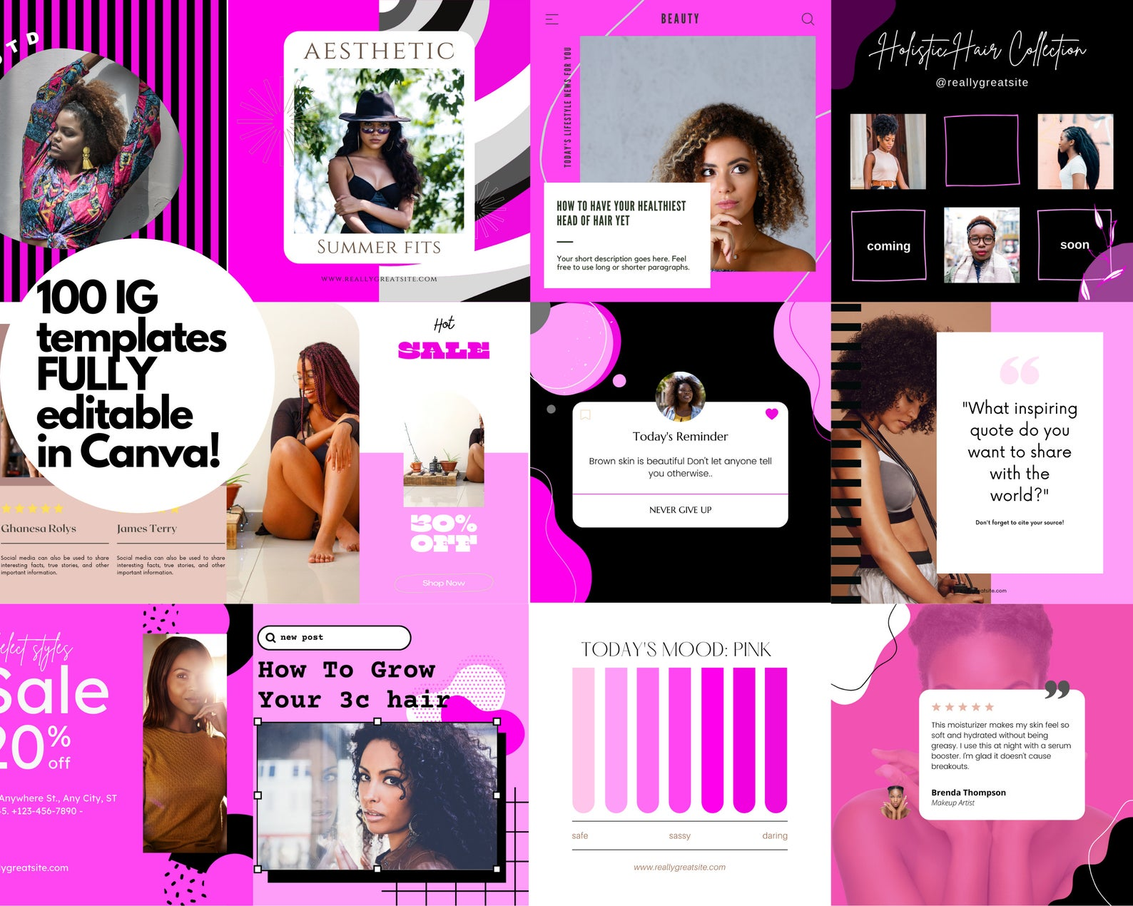 100 Black Beauty Business Instagram Templates Canva Glam