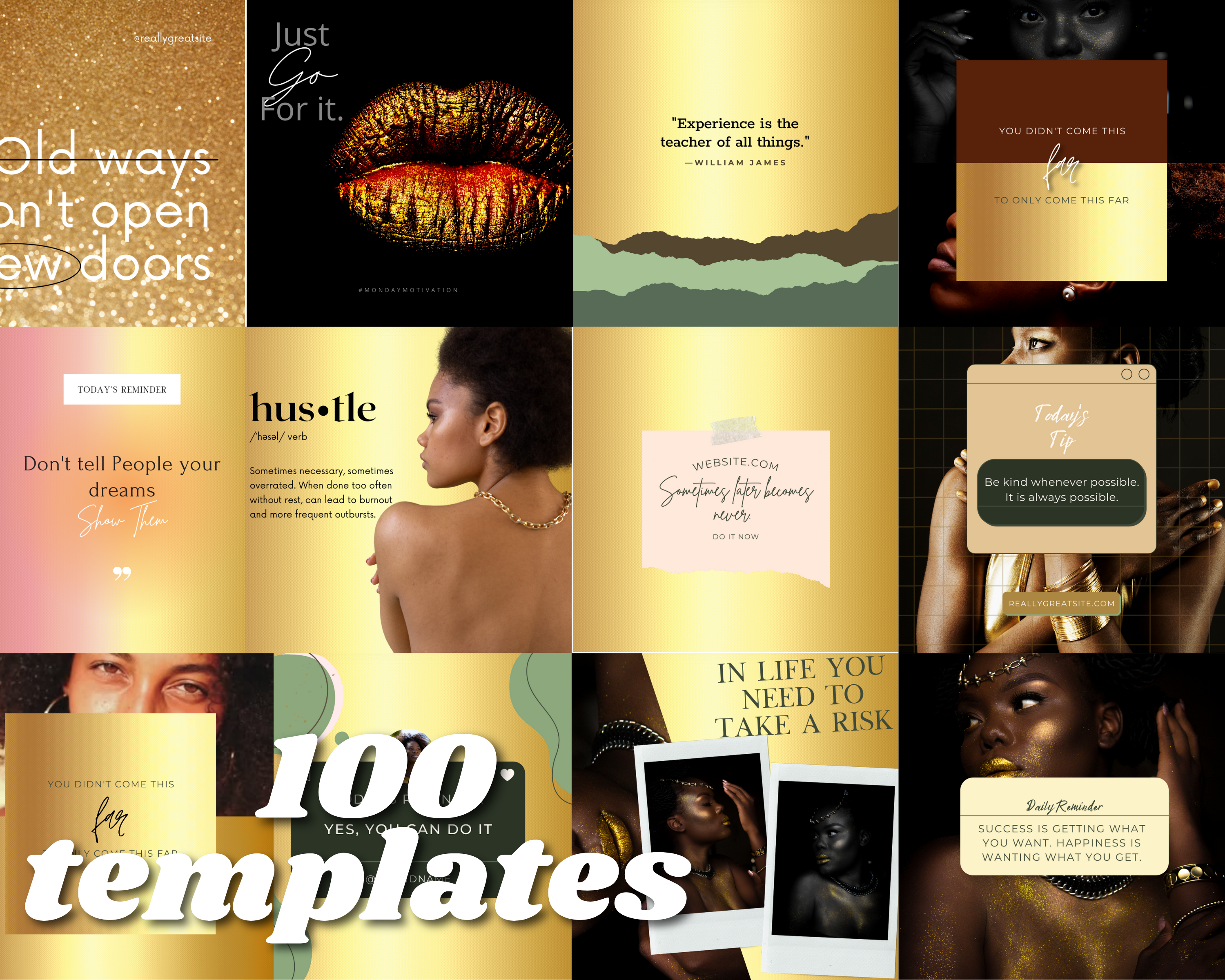 Gold Instagram Templates for Canva