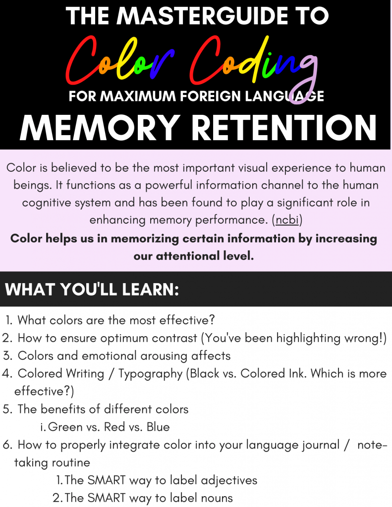 The Masterguide to Color Coding for maximum foreign language retention